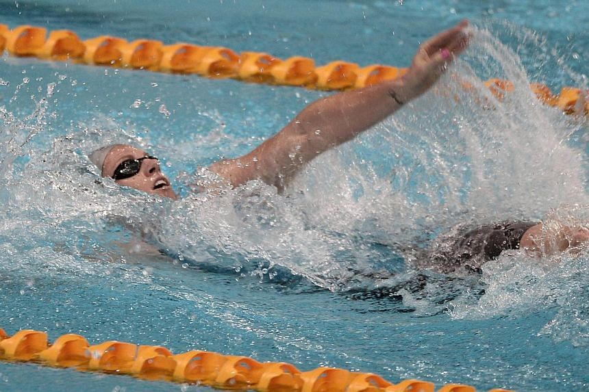 Emily Seebohn of Australia swims in the women's 100 LC metre backstroke during the Prudential Singapore Swim Stars on Sept 5, 2014. The Prudential Singapore Swim Stars inaugural one-day swimming event saw the participation of 12 Olympic Champions and