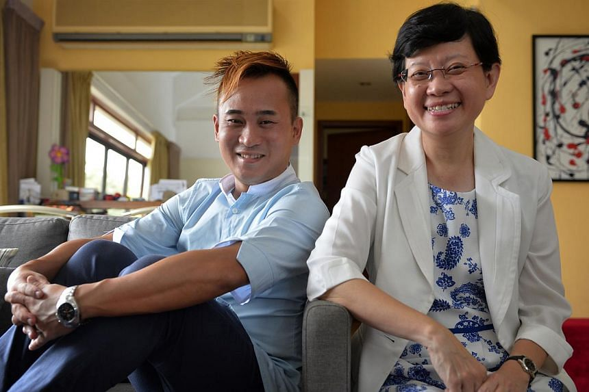 Mrs Chua Yen Ching, 55, with her former NorthLight School student Jerry Ong, 35. He remains grateful to his ex-principal for helping him turn his life around.