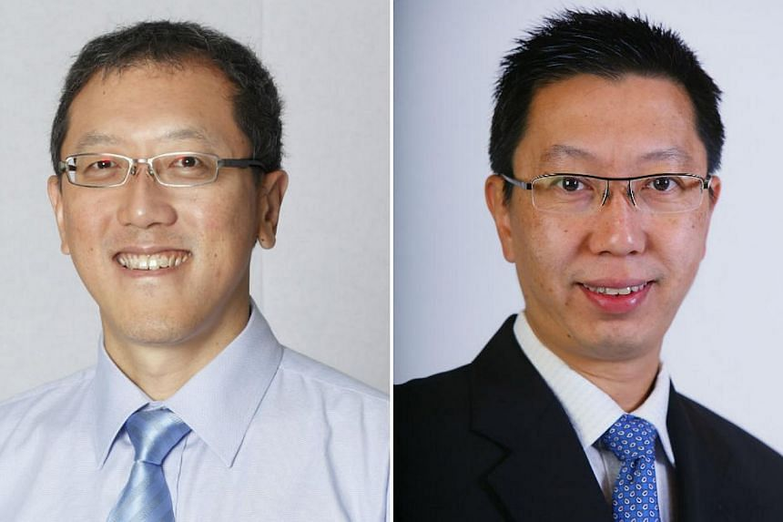 LTA chief executive Chew Hock Yong (left) will be will become second permanent secretary, Ministry of National Development, from Oct 1, and will oversee the Municipal Services Office. He will be replaced at LTA by PUB head Chew Men Leong. -- PHOTOS: