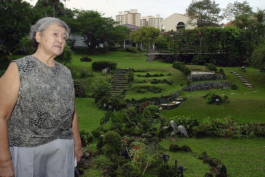Flashback:Madam Chung Khin Chun in her garden back in 2004 when she put it up for sale with a $9.8-million asking price. PHOTO: ST FILE