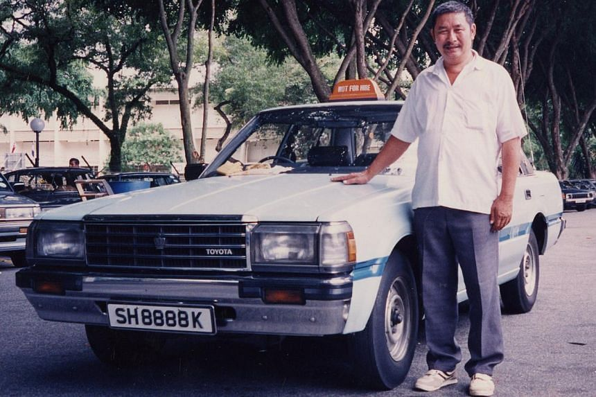 1988: Taxi driver Phua Chiang Chay with the iconic cab not long after it was introduced to roads here. 2014: SMRT cabby Chua Kiang Wee (left), 58, and TransCab cabby John Wong, 68, with their Crowns, which will be phased out.