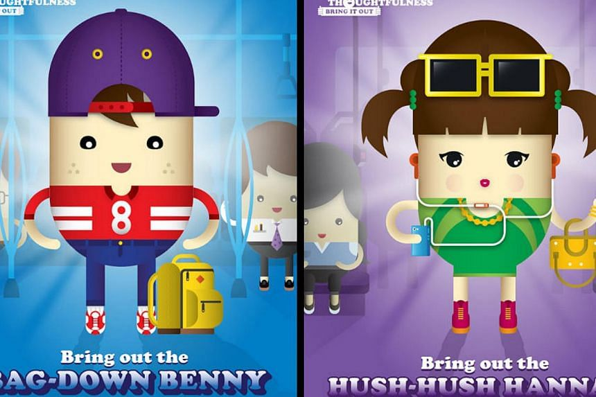 Two new cartoon commuters -- Bag-Down Benny and Hush-Hush Hannah-- have hopped on the thoughtful bandwagon to encourage passengers to make public transport more pleasant. -- PHOTO: LTA FACEBOOK