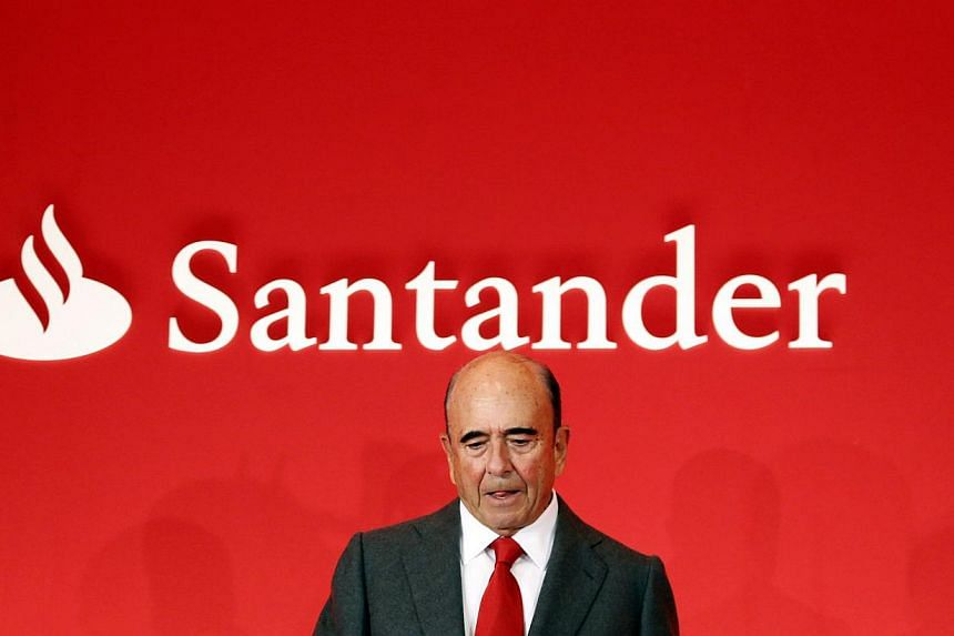 Spain's Santander chairman Emilio Botin giving his speech during the bank's 2012 results presentation at the company headquarters in Boadilla del Monte, outside Madrid on Jan 31, 2013, file photo.Mr Botin has died suddenly of a heart attack age