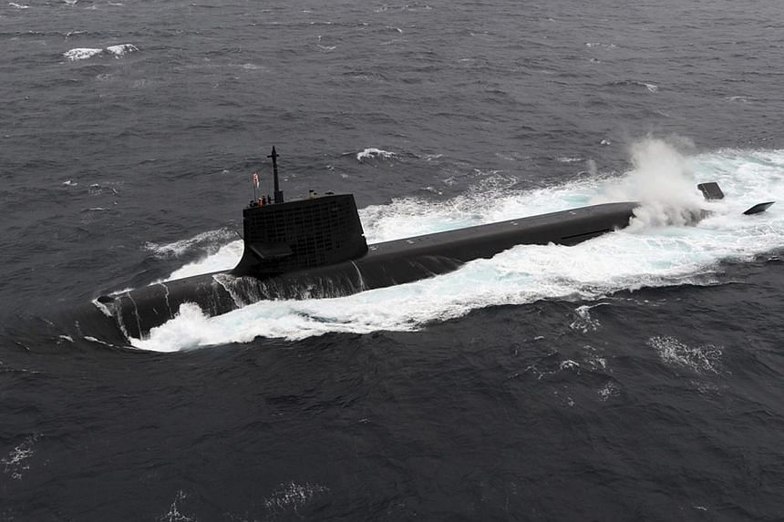 A Japan Maritime Self-Defense Forces diesel-electric submarine Soryu is seen in this undated handout photo released by the Japan Maritime Self-Defense Forces, and obtained by Reuters on Sept 1, 2014. -- PHOTO: REUTERS