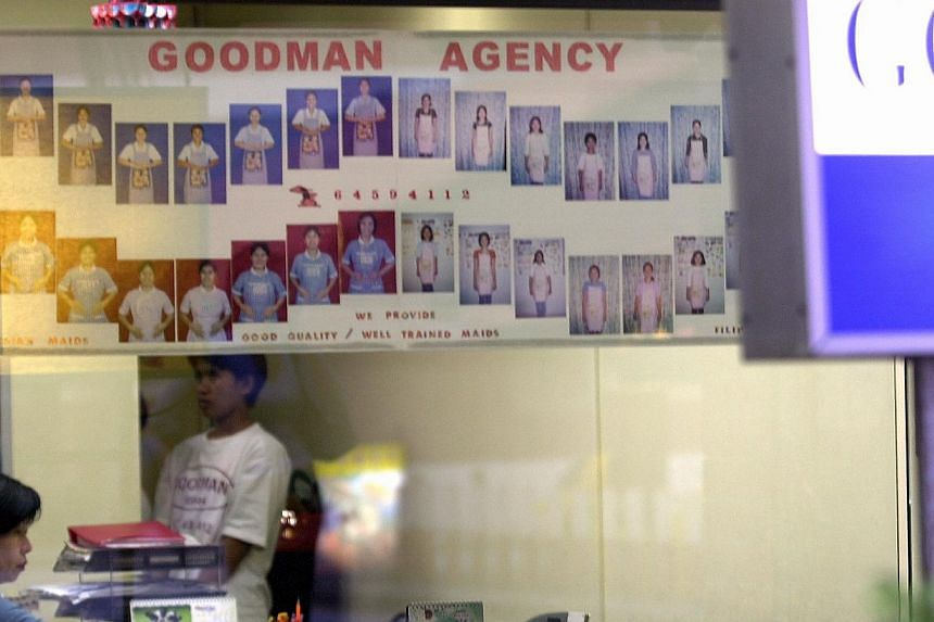 """THEN: Biodata of maids for hire put up on shop windows. Some agencies displayed notices with """"maid fees"""" or promised """"fast delivery""""."""