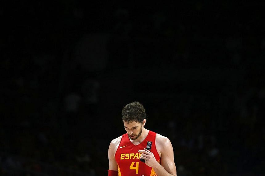 Spain's Pau Gasol reacts during their Basketball World Cup quarter-final game against France in Madrid on Sept 10, 2014. -- PHOTO: REUTERS