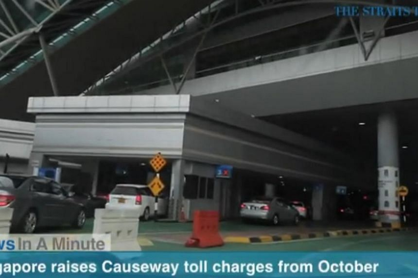 In today's The Straits Times News In A Minute video, we look at Singapore matching Malaysia's new toll charges at the Causeway from October 1. -- PHOTO: SCREENGRAB FROM VIDEO