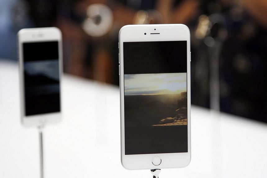 A new Apple iPhone 6 Plus is seen during an Apple event at the Flint Center in Cupertino, California, on Sept 9, 2014. -- PHOTO: REUTERS