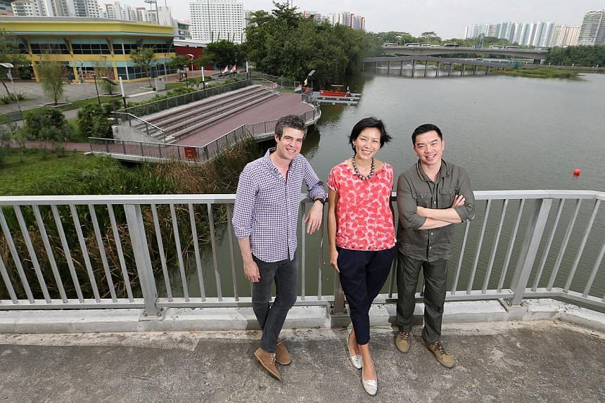 (From left) Joshua Comaroff and Ong Ker-Shing from Lekker Architects, and Lien Foundation CEO Lee Poh Wah. The philanthropic organisation has commissioned Lekker Architects to come up with 10 innovative designs for pre-schools and locate them in unde