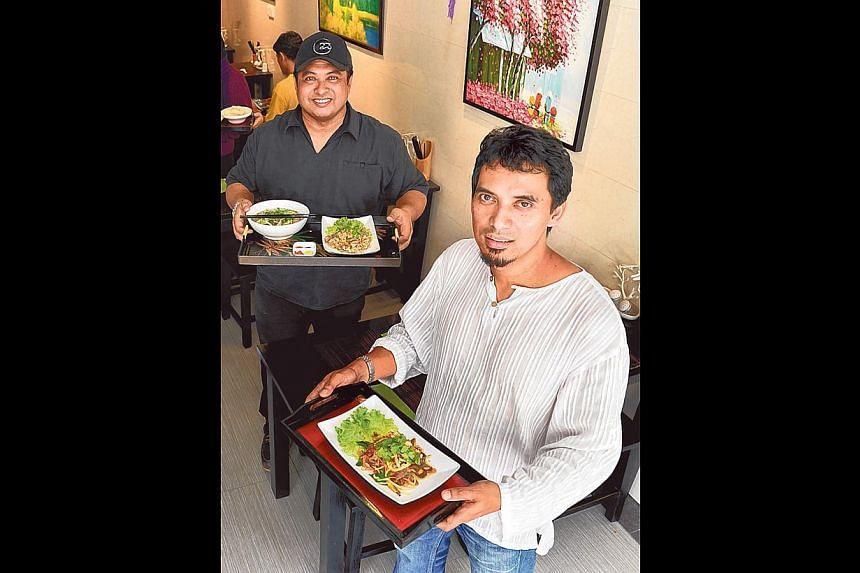 Halal Vietnamese joint Pho 4 All was started by (from left) Mr Jumali Johari and Mr Ramly Djamil. -- PHOTO: BERITA HARIAN