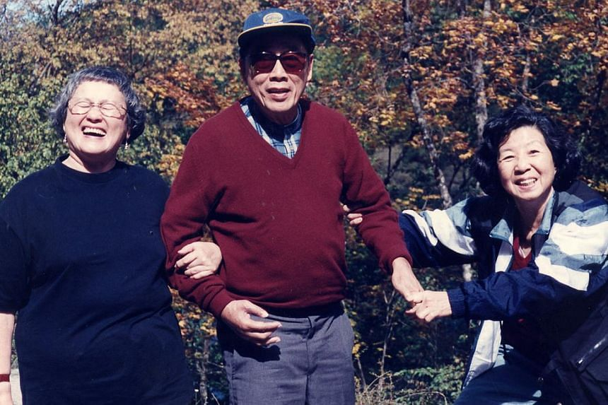 (Above, from left) Madam Chung, her late husband, Dr Chou, and Madam Chang in a photo taken during one of their trips abroad in 1995. Madam Chang (below) moved in with the couple in 2005 when Dr Chou was in poor health, but now lives on her own.