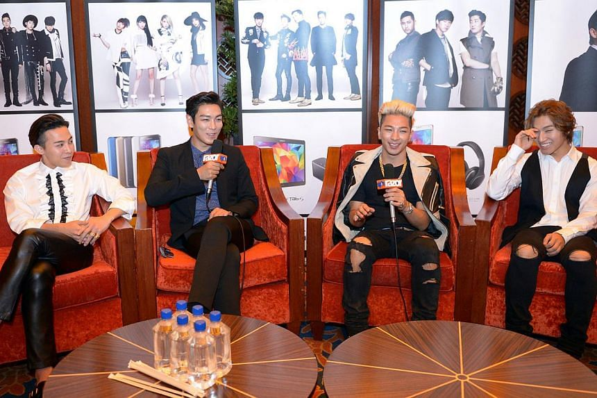 BigBang's Taeyang (third from left) on the group's staying power. With him are his bandmates (from far left) G-Dragon, T.O.P and Daesung. Fifth member Seungri, who did not come to Singapore, had been in an accident in Seoul and was hospitalised f