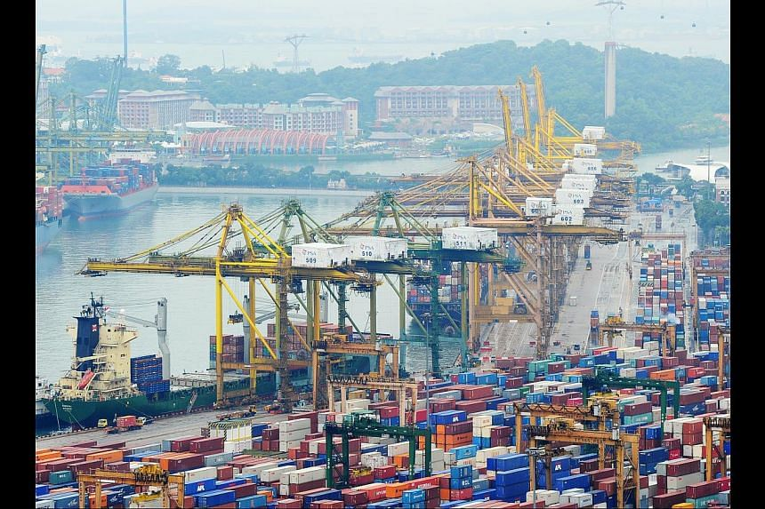 Exports in the first seven months this year were 2.4 per cent lower compared with the same period last year. Economists noted that if Singapre's economy shifts more towards services, exports of goods would naturally dip. One observed that that a drop
