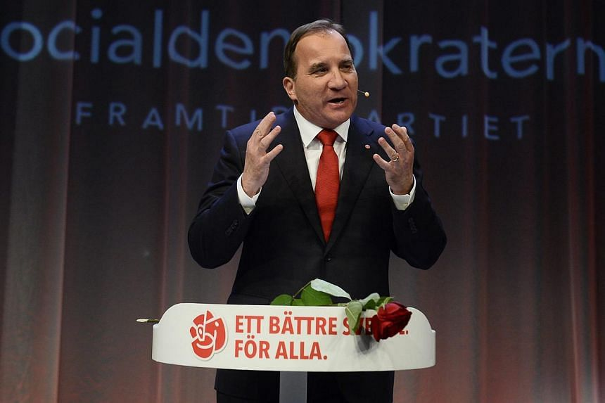 Opposition leader Stefan Lofven speaks at the election night party of the Social Democrats in Stockholm, on Sept 14, 2014. -- PHOTO: REUTERS