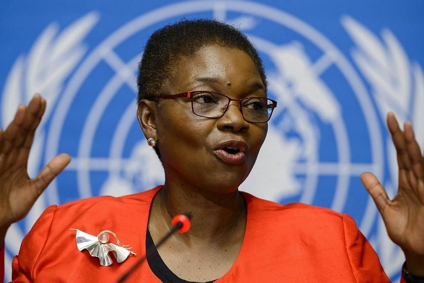 United Nations Under-Secretary-General for Humanitarian Affairs and Emergency Relief Coordinator, Valerie Amos gestures during a press conference on global aid pledged to fight the Ebola outbreak in west Africa on Sept 16, 2014 at UN offices in Genev