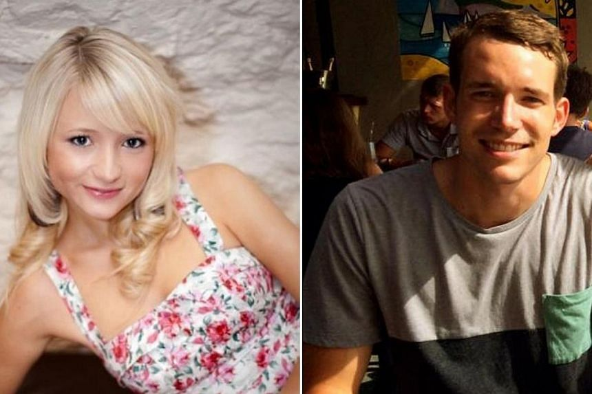 This combination of handout images created from undated images received from Britain's Foreign and Commonwealth Office on Sept 16, 2014 shows British students, Hannah Witheridge (left) and David Miller (right). Thai police on Wednesday identifie