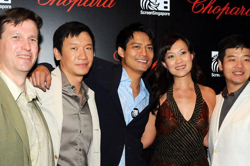 Andrew Ooi (far right) with (from left) Echelon Talent partner Joel Morrish, actors Chin Han and Archie Kao, and co-creative partner Sukee Chew. -- PHOTO: ECHELON TALENT MANAGEMENT