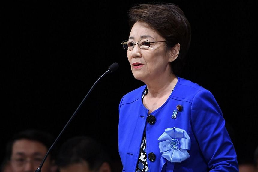 Japanese cabinet ministerEriko Yamatani delivers a speech during a rally to support families of abduction victims by North Korea in Tokyo on Sept 13, 2014. -- PHOTO: AFP