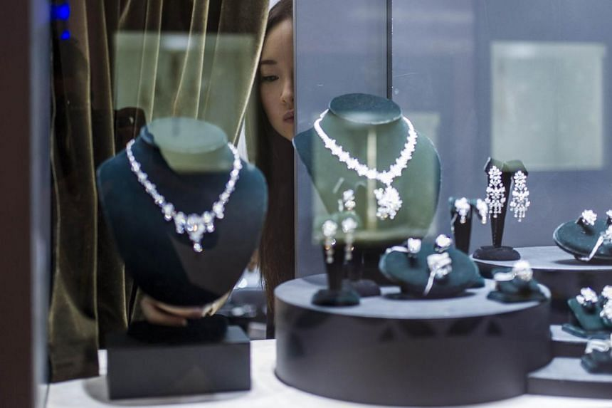 Items on display at the Hong Kong Jewellery and Gem Fair yesterday. A survey in China found that nearly half of respondents chose jewels as their most coveted object. -- PHOTO: AGENCE FRANCE-PRESSE