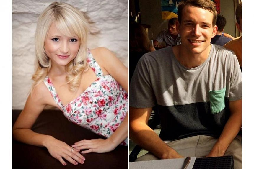 This combination of handout images received from Britain's Foreign and Commonwealth Office on Sept 16, 2014, shows British students Hannah Witheridge and David Miller, whosebattered bodies were found on the southern resort island of Koh Tao on