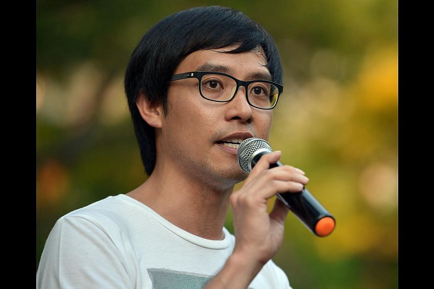 Blogger Roy Ngerngat the Labour Day protest at Hong Lim Park on May 1, 2014. A High Court hearing into an application by Prime Minister Lee Hsien Loong for a summary judgment in his defamation suit against Mr Ngerng, concluded on Thursday with
