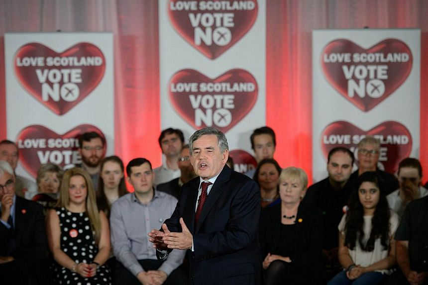 Former British Prime Minister Gordon Brown addresses a rally in Glasgow, Scotland on Sept 17, 2014, ahead of the referendum on Scotland's independence. -- PHOTO: AFP