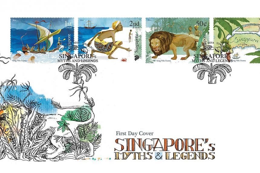 A new stamp issue illustrates the legend of Redhill, or Bukit Merah, about fierce swordfish that attacked villagers there till a boy's plan to trap them using banana tree trunks worked. -- PHOTO: SINGAPORE POST