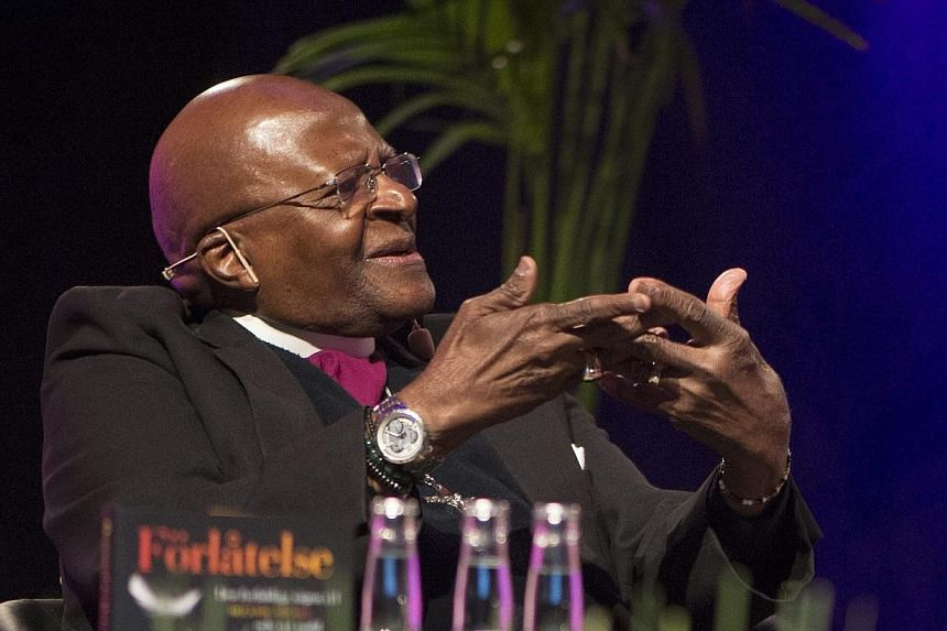 """Desmond Tutu, retired South African Anglican bishop, talks about his book """"The Book of Forgiving"""", written in collaboration with his daughter, at the Book Fair in Goteborg, Sweden, Sept 26, 2014.South African Nobel peace laureate Desmond Tutu W"""