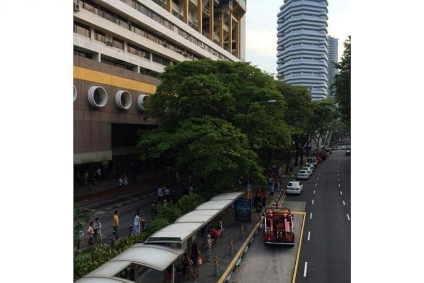 A fire broke out at the Golden Mile Complex in Beach Road on Wednesday, according to an employee working there. -- PHOTO: STOMP