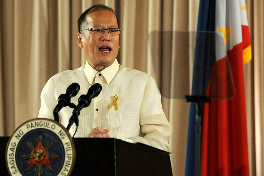 Philippine President Benigno Aquino speaks during ceremonies for the turnover of the Draft of the Bangsamoro Basic Law at alacanang Palace in Manila on Sept 10, 2014. Mr Aquino on Wednesday criticised the United Nations for refusing to better arm Fil