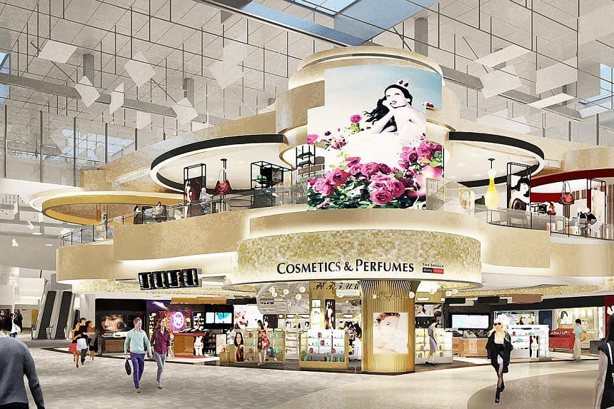An artist impression of a double-storey store at Terminal 3, which will also house a cafe. -- PHOTO: SHILLA DUTY FREE