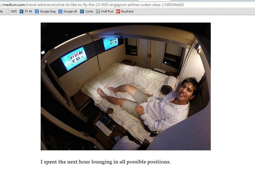 A screenshot of Mr Derek Low's account of travelling in Singapore Airlines' Suites class from a mirror site, Medium.com. Mr Low has been accused online by netizens of plagiarising other people's reviews. -- PHOTO: MEDIUM.COM