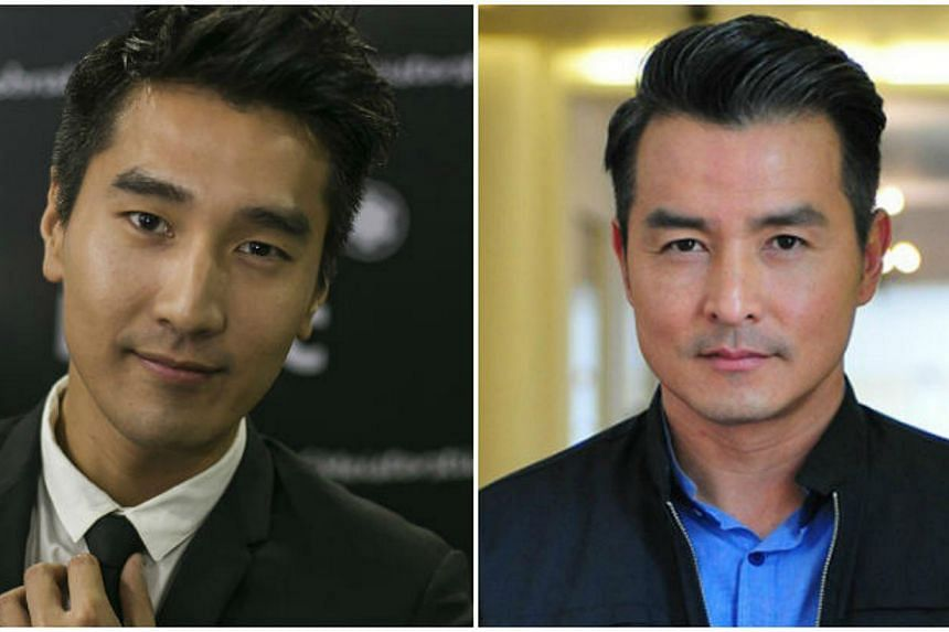 Taiwan star Mark Chao (left) and homegrown actor Christopher Lee. -- PHOTOS: MONT BLANC/MEDIACORP
