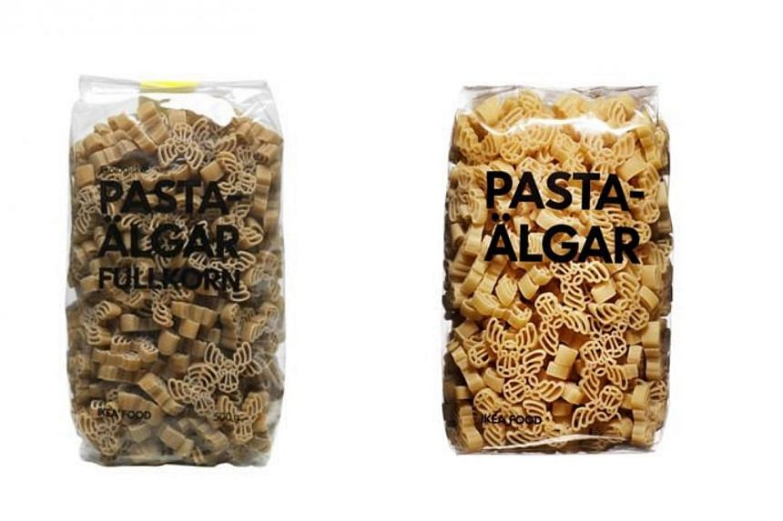 Ikea Singapore has recalled two pasta products, PASTAÄLGAR FULLKORN and PASTAÄLGAR,from its food market at both its Tampines and Alexandra outlets. -- PHOTO: IKEA