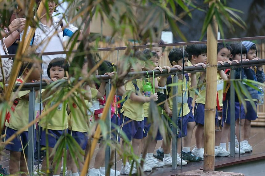Children visiting the River Safari. A new campaign which aims to urge parents and educators to rethink the priorities of childhood was launched on Thursday. -- ST PHOTO: ONG WEE JIN