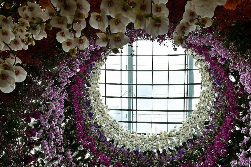 A floral display by award-winning Japanese landscape designer Jun-ichi Inada at the Singapore Garden Festival 2014. -- PHOTO: AFP