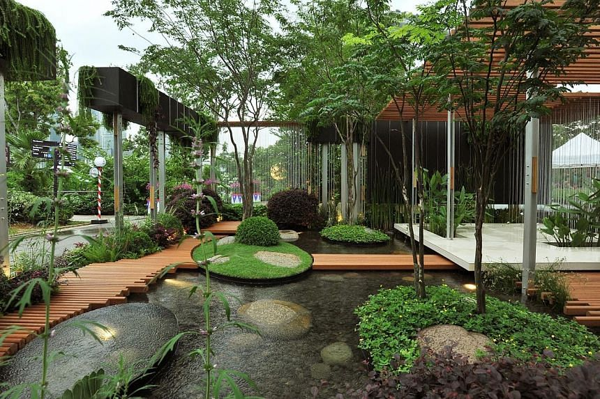 Vertical, a landscape garden by Australian designer Brendan Moar, at the Singapore Garden Festival. -- ST PHOTO: LIM YAOHUI