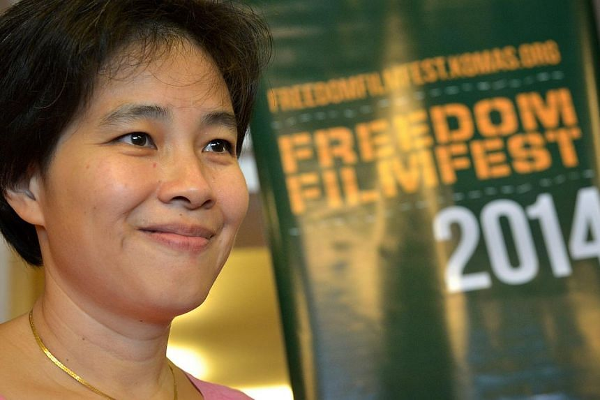 """Director Tan Pin Pin at the screening of her film """"To Singapore With Love"""", at the Freedom Film Fest in Johor Baru on Sept 19, 2014. -- ST PHOTO: KUA CHEE SIONG"""
