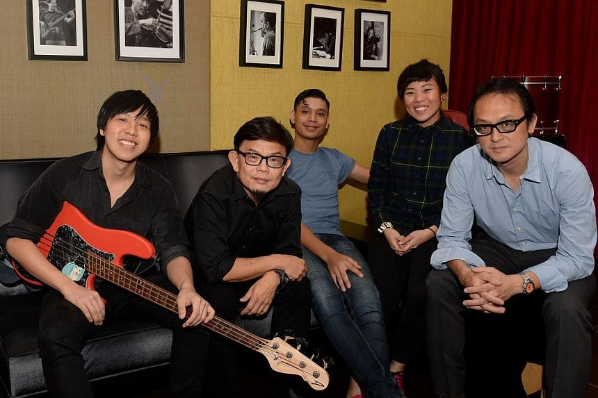 The Steve McQueens – comprising (from left) Jase Sng, Joshua Wan, Aaron James Lee, Eugenia Yip and Fabian Lim – spent two weeks at British musician Jean-Paul Maunick's Livingston Studios in London in August. -- ST PHOTO: AZIZ HUSSIN