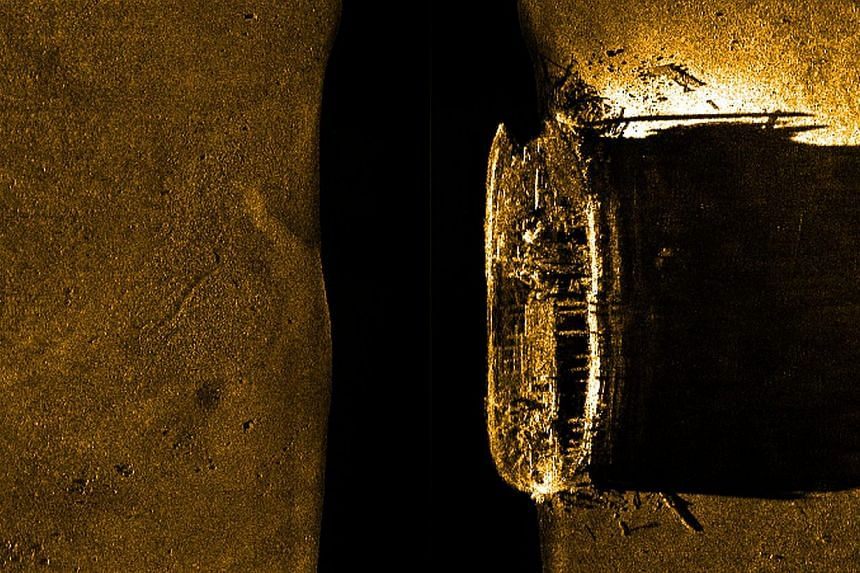 This image provided on Sept 10, 2014 by Parks Canada, shows a sonar view of one of two ill-fated ships lost more than 160-years-ago when Sir John Franklin led an expedition to chart the Northwest Passage in the Canadian Arctic. -- PHOTO: AFP
