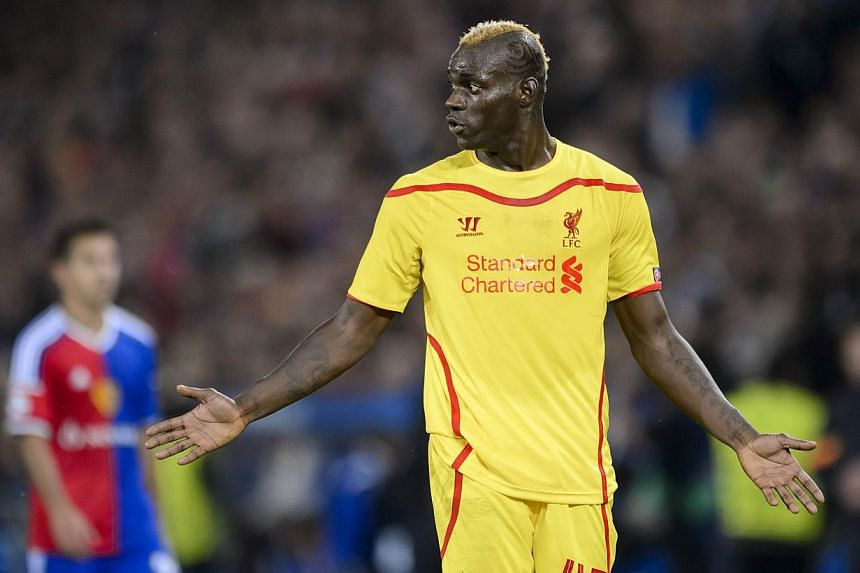 Liverpool's Mario Balotelli during the Champions League match against Basel on Oct 1, 2014. -- PHOTO: AFP