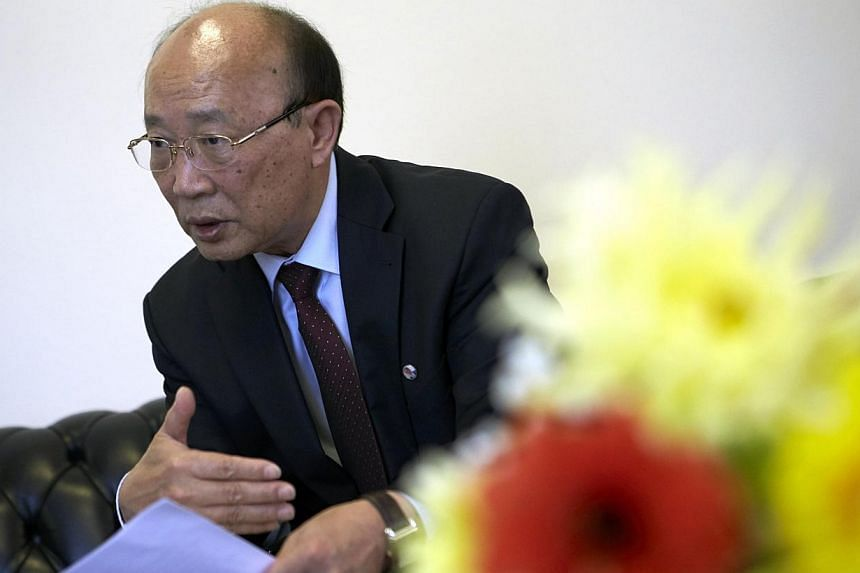 North Korea's ambassador to the United Nations, Mr So Se Pyong, gestures during an interview at the Permanent Mission of North Korea in Geneva on Oct 2, 2014. North Korea is ready to resume six-party talks on its nuclear programme but must maintain i