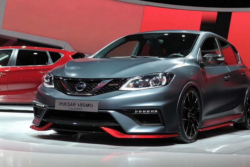 A Nissan Pulsar Nismo Concept car is presented at the 2014 Paris Auto Show on Oct 2, 2014 in Paris. -- PHOTO: AFP