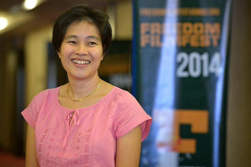 """Filmmaker Tan Pin Pin before the screening of her latest film """" To Singapore With Love"""" at the 11 @ Century Hotel in Johor Bahru, Malaysia on Sept 19, 2014. -- PHOTO: ST FILE"""