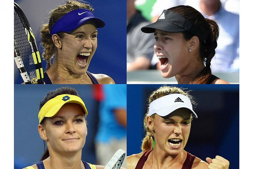 Top tennis stars (clockwise from top left) Eugenie Bouchard, Ana Ivanovic, Caroline Wozniacki and Agnieszka Radwanska have all qualified for the WTA Finals in Singapore from October 17-26. -- PHOTOS: AFP/REUTERS