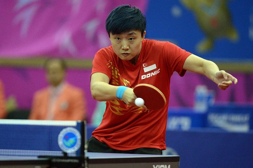 SINGAPORE table tennis player Feng Tianwei clinched the final medal for Singapore at the Incheon Asian Games on Saturday, winning a bronze in the women's singles competition at Suwon Gymnasium. -- ST PHOTO: DESMOND WEE