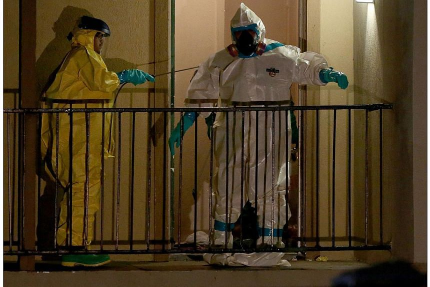 Members of the Cleaning Guys Haz Mat clean up company work on sanitising the apartment where Ebola patient Thomas Eric Duncan was staying before being admitted to a hospital on Oct 5, 2014, in Dallas, Texas.The first Ebola patient diagnosed in the Un