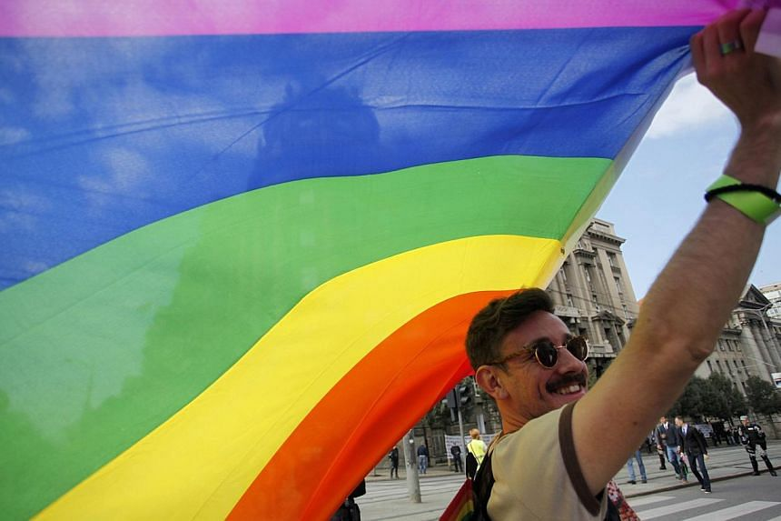 A gay rights activist holds a rainbow flag during a Pride march in Belgrade, on Sept 28, 2014.Gay and lesbian Catholic groups are holding an international congress in Portugal this week as they seek to make their voices heard by the Vatican. --