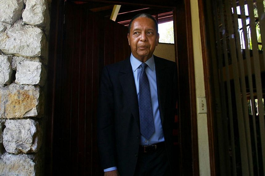 "A picture taken on March 29, 2011 shows former Haitian president Jean-Claude Duvalier ""Baby Doc"" posing outside his home in Port au Prince. Haiti's former dictator Duvalier, who ruled the impoverished Caribbean nation from 1971 until his ouster in 19"