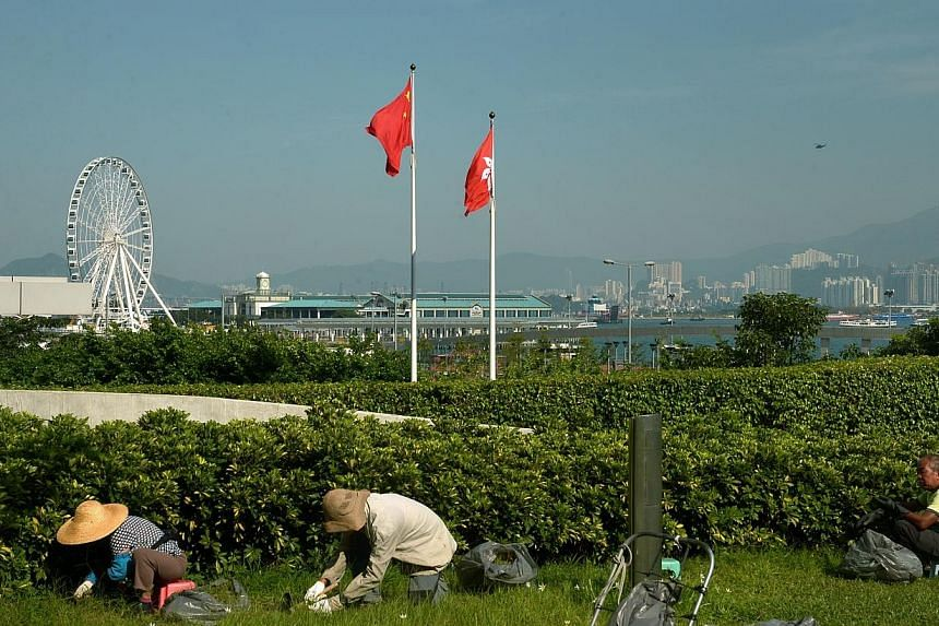 Gardeners at work on a lawn in front of the flags of China and Hong Kong in Admiralty district in Hong Kong on Oct 6, 2014. -- ST PHOTO: KUA CHEE SIONG